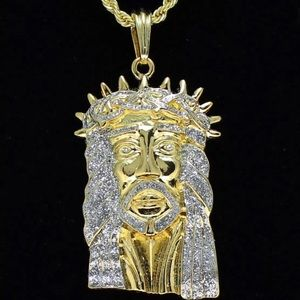 New iced out Jesus piece head Gold plated Chain